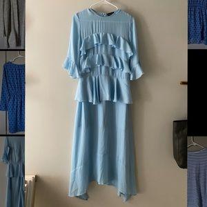 Long, flowy, airy blue dress